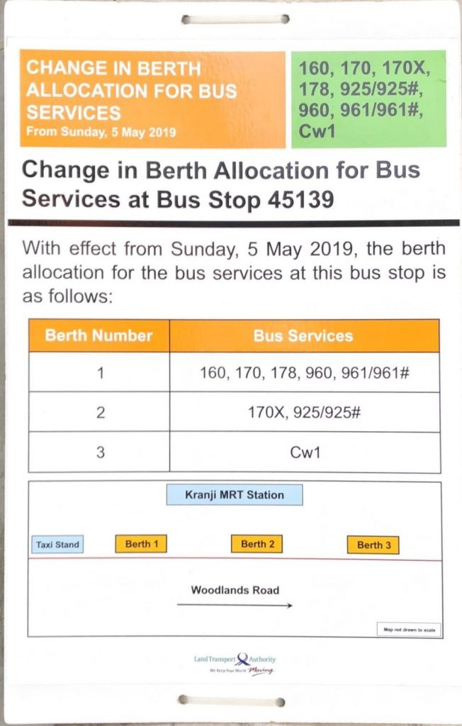 Change in Berth Allocation for Bus Services at B/S 45139 - Kranji Stn, Woodlands Road
