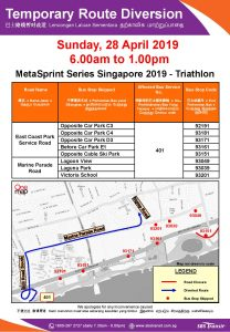 SBS Transit Route Diversion poster for MetaSprint Series Singapore 2019 - Triathlon