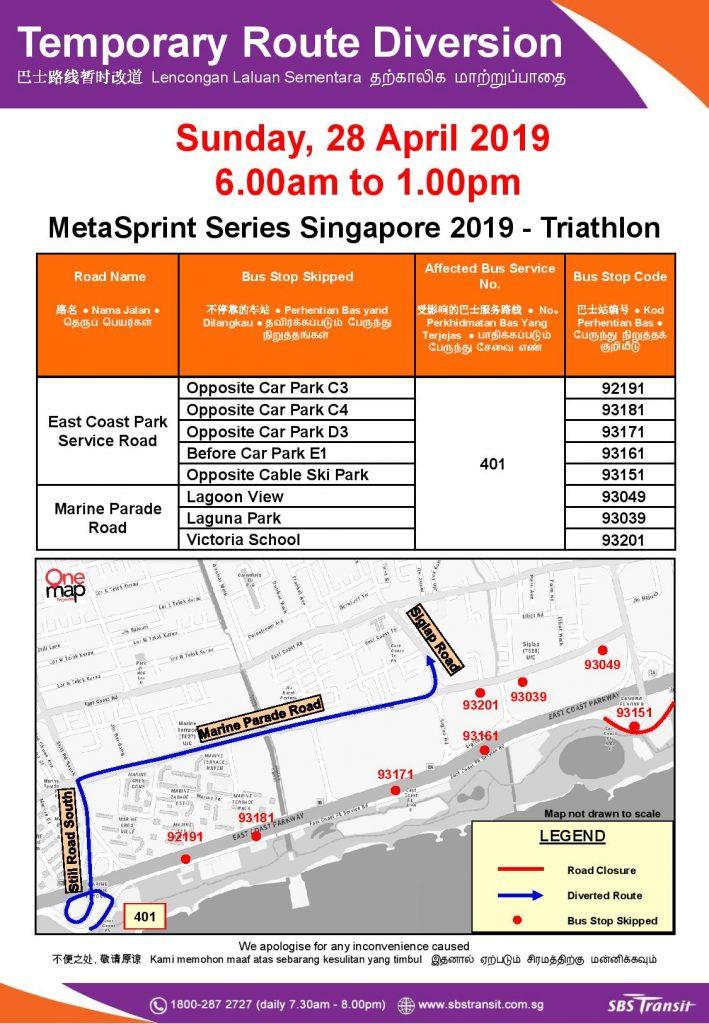 SBS Transit Route Diversion poster for MetaSprint Series Singapore 2019 - Triathlon