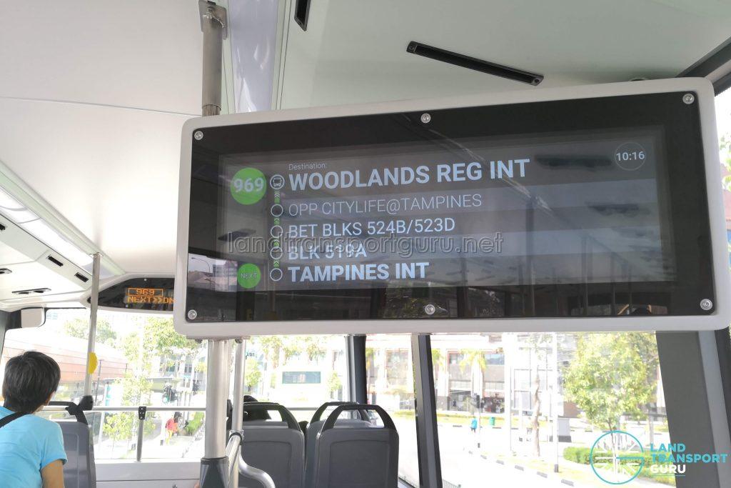 Interior PIDS (Upper Deck) - Bus 969
