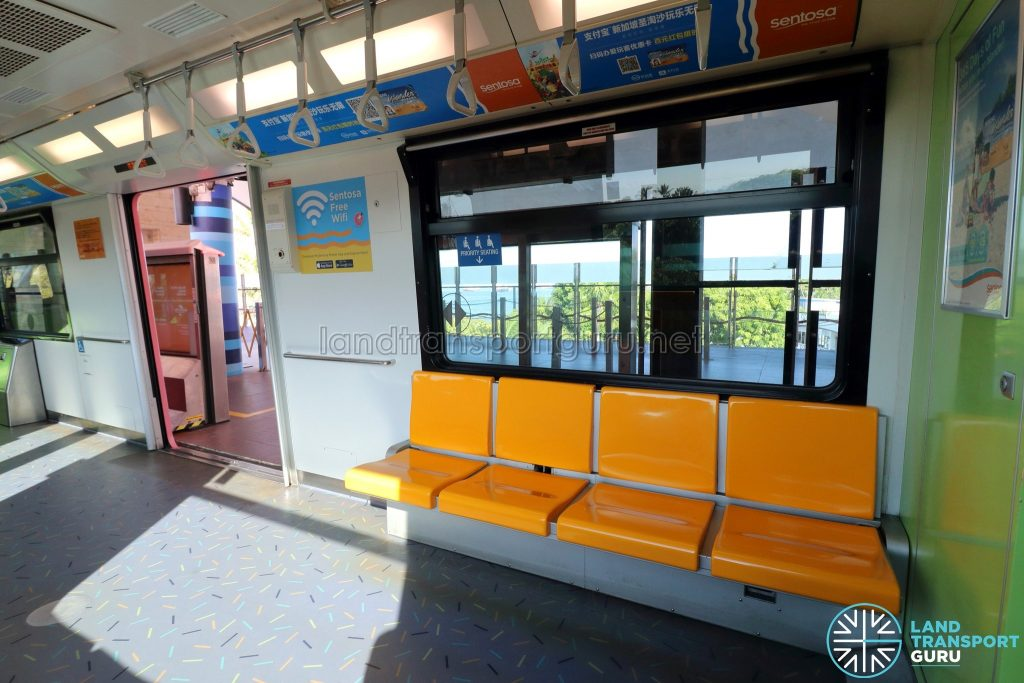 Sentosa Express Monorail - Interior with foldable seats