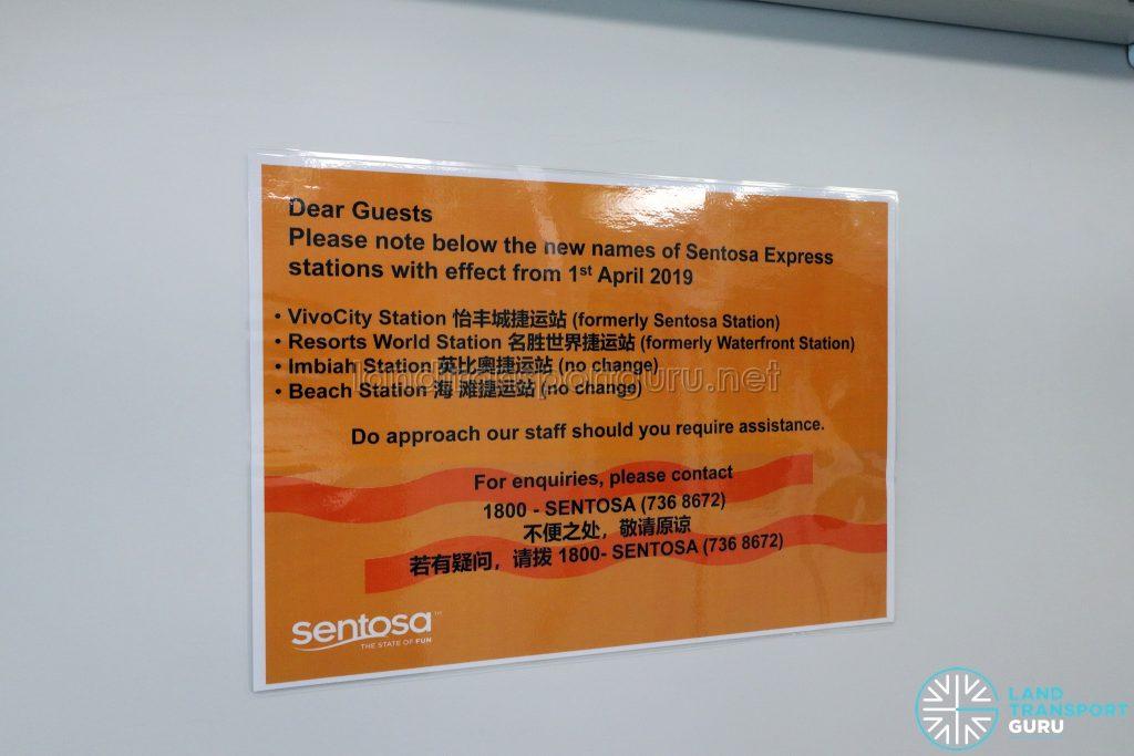 Sentosa Monorail - Renaming of stations