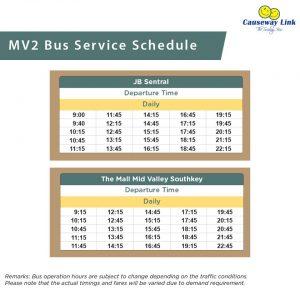 Causeway Link Bus Service MV2 Timetable