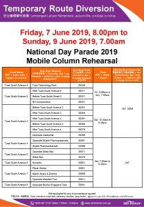 SBS Transit Route Diversion poster for National Day Parade 2019 Mobile Column Rehearsal (June 2019)