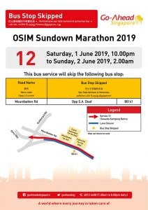 Go-Ahead Bus Stop Skipped poster for OSIM Sundown Marathon 2019