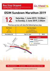 Go-Ahead Bus Stop Skipped poster for OSIM Sundown Marathon 2019
