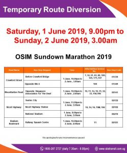 SBS Transit Route Diversion poster for OSIM Sundown Marathon 2019