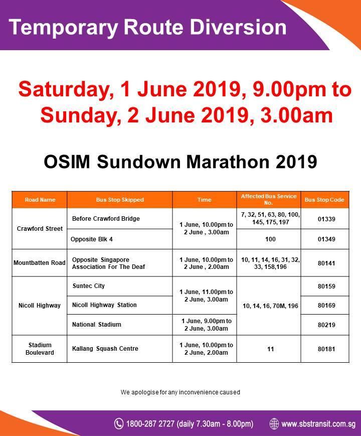 SBS Transit Route Diversion poster for OSIM Sundown Marathon 2019