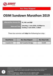 SMRT Buses Bus Stop Skipped poster for OSIM Sundown Marathon 2019