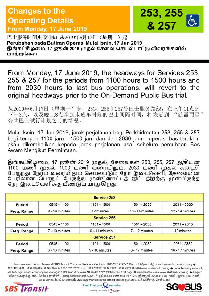 Operating Details reinstatement for Bus Services 253, 255 & 257