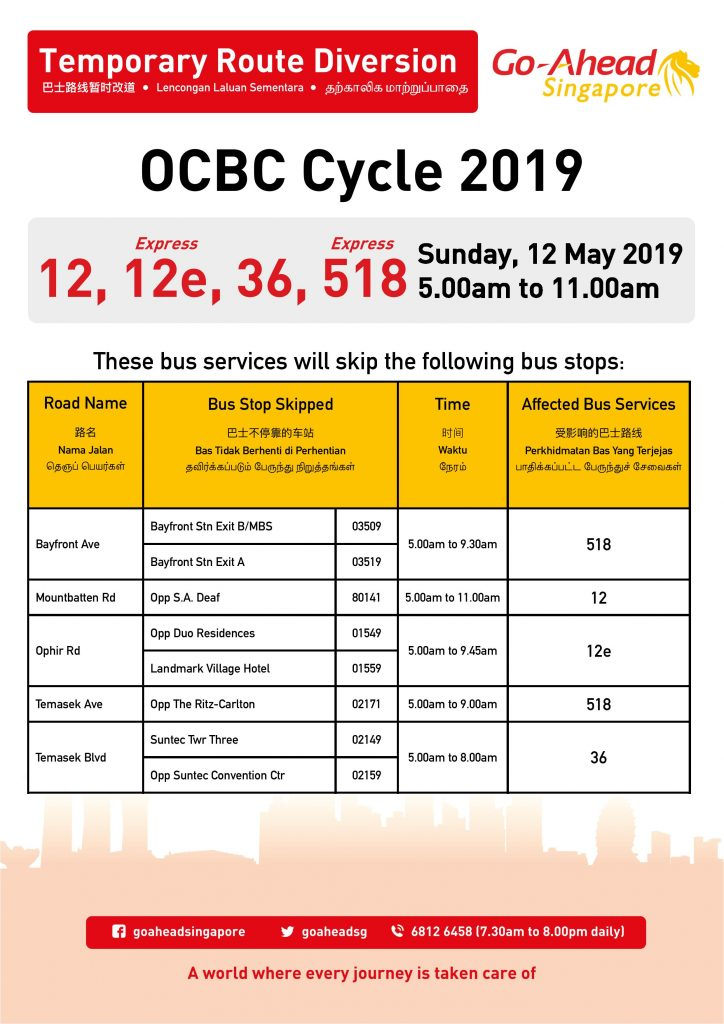 Go-Ahead Singapore Route Diversion poster for OCBC Cycle 2019