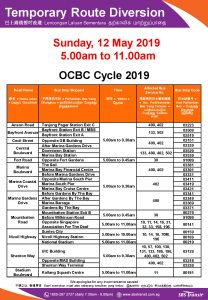 SBS Transit Route Diversion poster for OCBC Cycle 2019