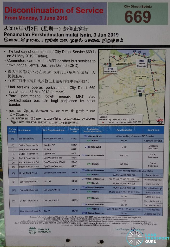 Discontinuation of City Direct Bus Service 669 Poster