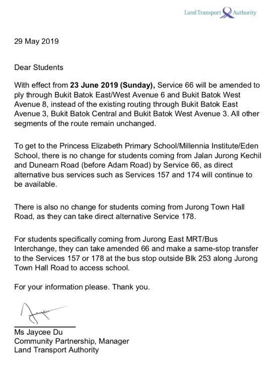 LTA Letter to Affected Students for Service 66 Route Amendment