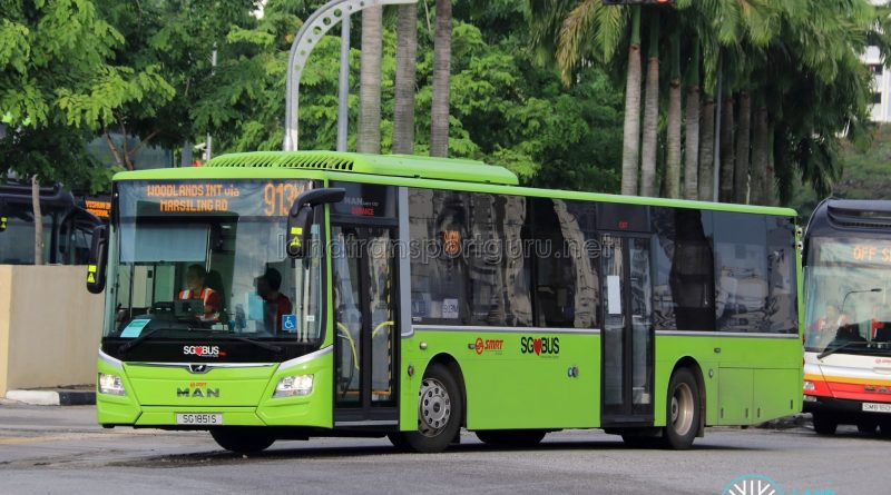 Bus 913M - SMRT Buses MAN A22 Euro 6 (SG1851S)
