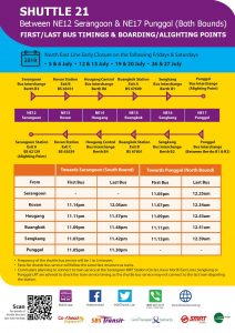 [July 2019] Shuttle 21 (Serangoon – Punggol) Departure Timings from Stations