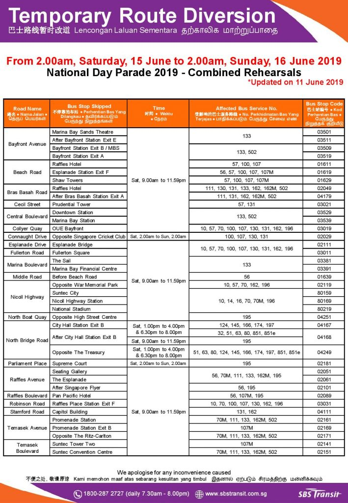 SBS Transit Route Diversion Poster for National Day Parade 2019 - Combined Rehearsals (Updated for CR1)