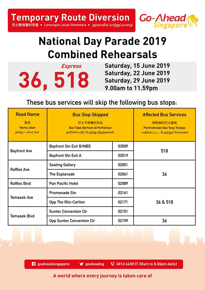 Go-Ahead Singapore Route Diversion Poster for National Day Parade 2019 - Combined Rehearsals