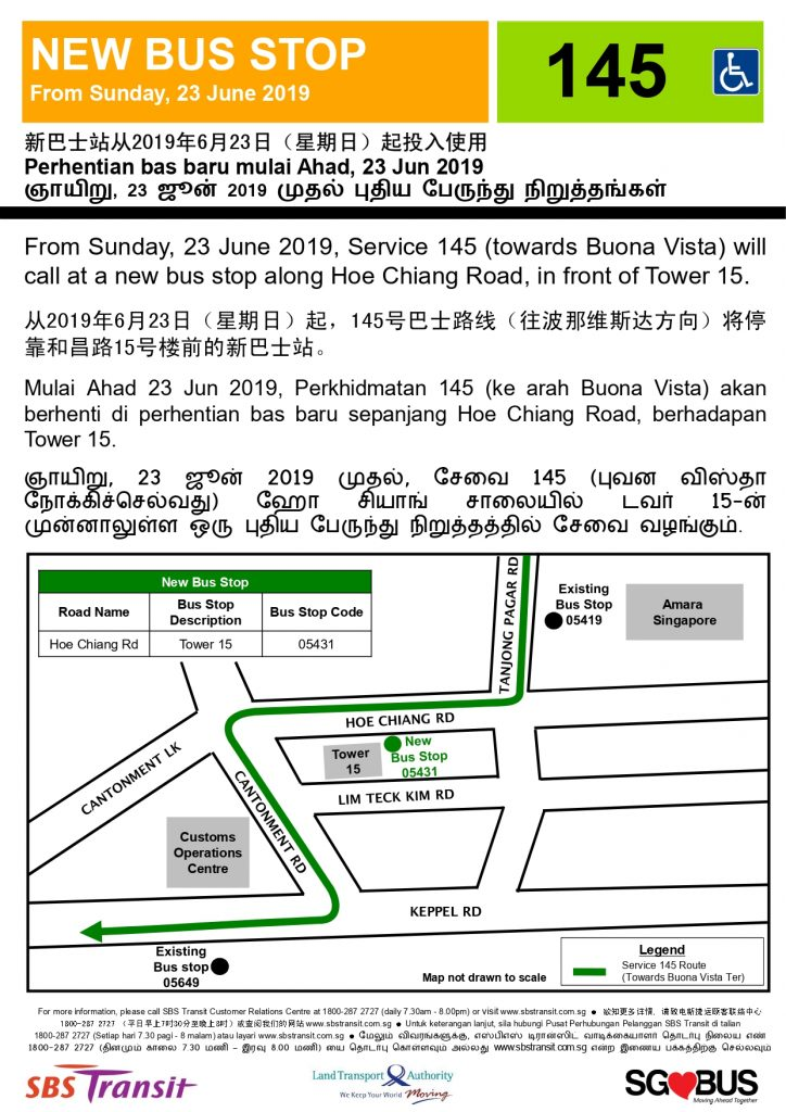 New Bus Stop for Service 145 along Hoe Chiang Road