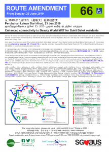 Service 66 Route Amendment (Enhanced connectivity to Beauty World MRT for Bukit Batok residents) [Updated Poster]