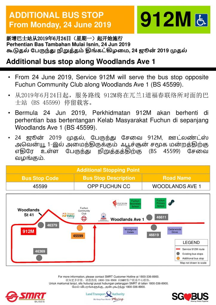 Additional Bus Stop for Service 912M along Woodlands Ave 1