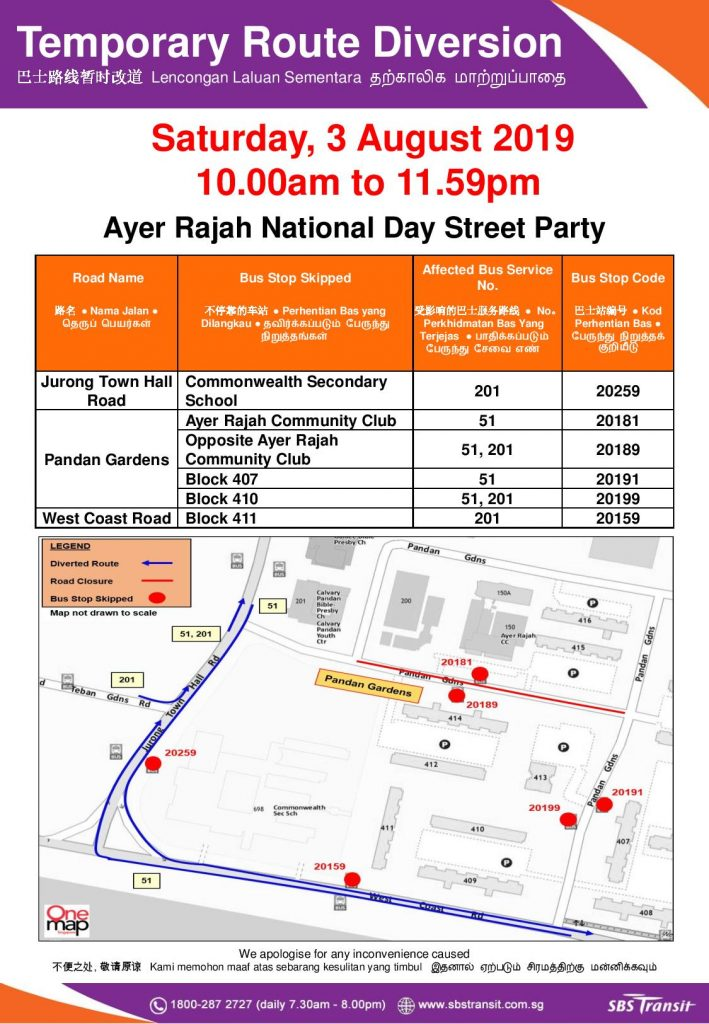 SBS Transit Route Diversion Poster for Ayer Rajah National Day Street Party 2019