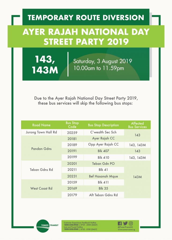 Tower Transit Route Diversion Poster for Ayer Rajah National Day Street Party 2019