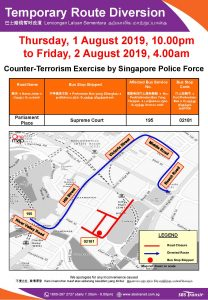 SBS Transit Route Diversion Poster for Counter-Terrorism Exercise by Singapore Police Force (Aug 2019)