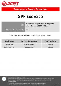 SMRT Buses Route Diversion Poster for Counter-Terrorism Exercise by Singapore Police Force (Aug 2019)