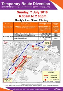 SBS Transit Diversion Poster for Monty's Last Stand Filming
