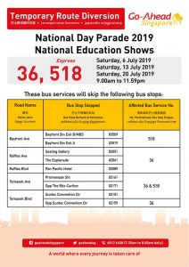 Go-Ahead Singapore Route Diversion Poster for National Day Parade 2019 - National Education Shows