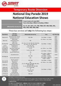 SMRT Buses Route Diversion Poster for National Day Parade 2019 - National Education Shows