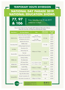 Tower Transit Route Diversion Poster for National Day Parade 2019 - National Education Shows