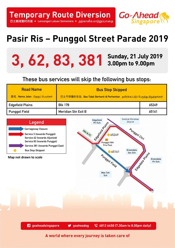 Go-Ahead Singapore Route Diversion poster for Pasir Ris - Punggol Street Parade 2019