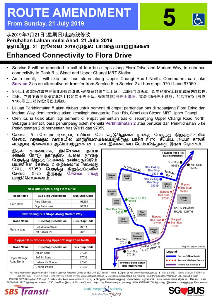 Service 5 Route Amendment (Enhanced connectivity to Flora Drive)