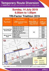 SBS Transit Route Diversion poster for TRI-Factor Triathlon 2019