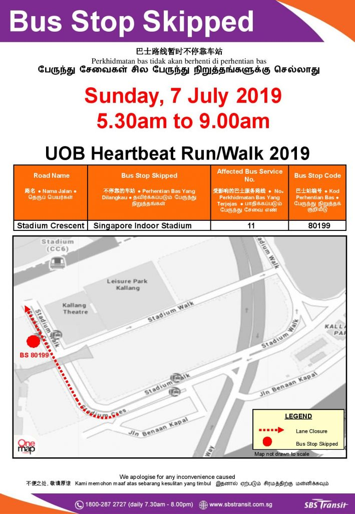 SBS Transit Bus Stop Skipped Poster for UOB Heartbeat Run / Walk 2019