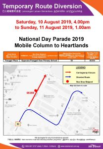 SBS Transit Route Diversion Poster for National Day Parade 2019 - Mobile Column to Heartlands