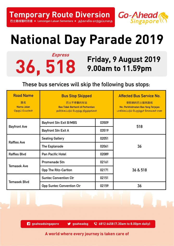 Go-Ahead Singapore Route Diversion Poster for National Day Parade 2019