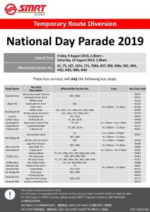 SMRT Buses Route Diversion Poster for National Day Parade 2019
