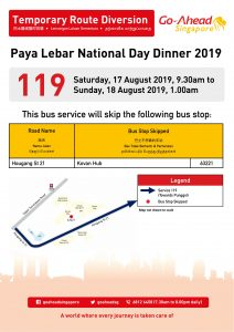 Go-Ahead Singapore Bus Service Diversion Poster for Paya Lebar National Day Dinner 2019
