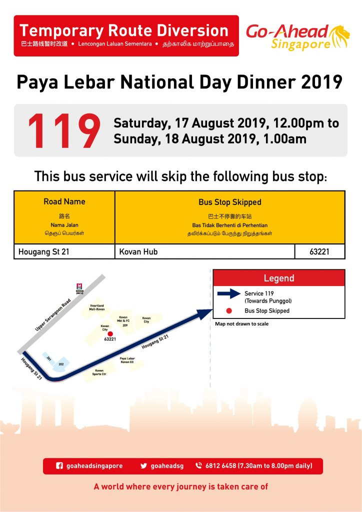[Updated] Go-Ahead Singapore Bus Service Diversion Poster for Paya Lebar National Day Dinner 2019