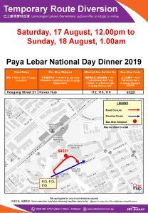 SBS Transit Bus Service Diversion Poster for Paya Lebar National Day Dinner 2019
