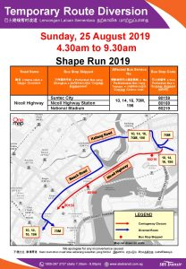 SBS Transit Bus Service Diversion Poster for Shape Run 2019