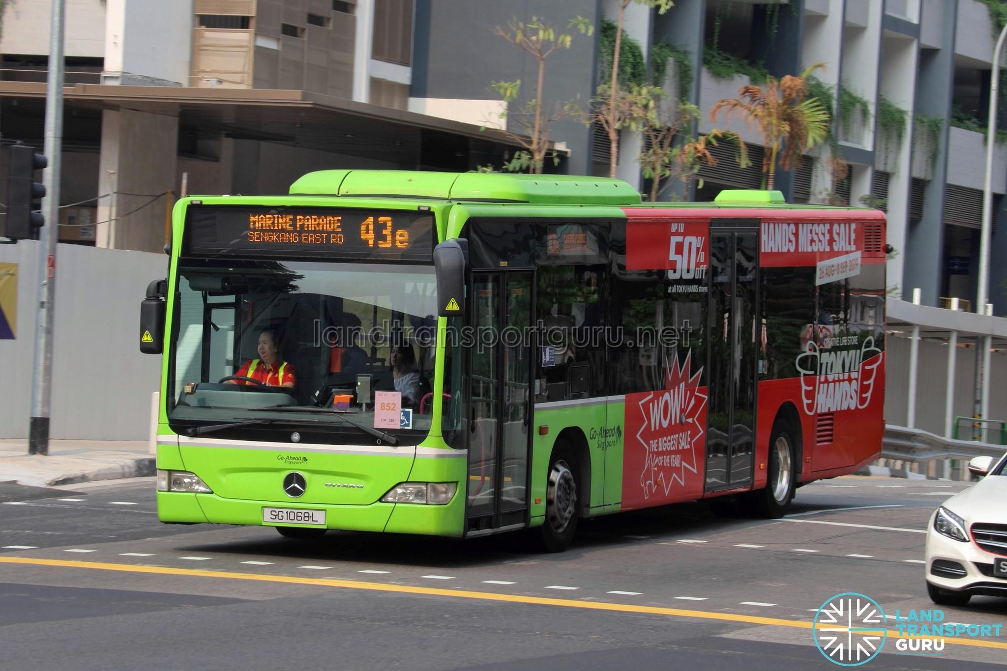 Bus 43e - Go-Ahead Singapore Mercedes-Benz Citaro (SG1068L)