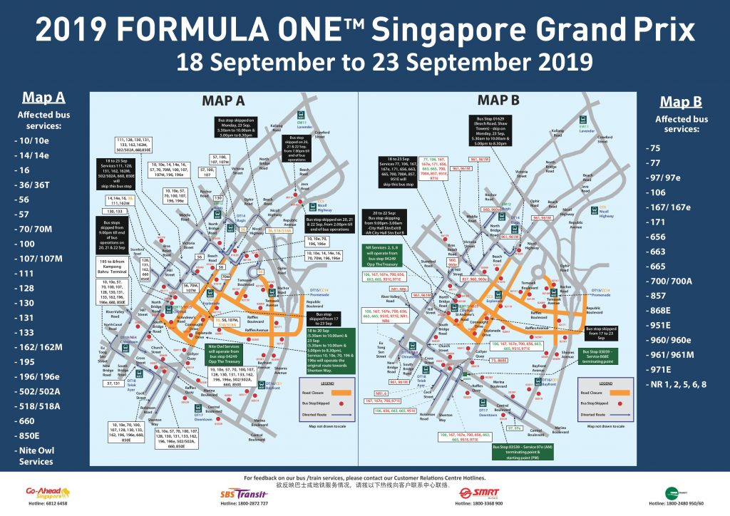 Formula 1 2019 Singapore Grand Prix – Bus Diversions and ...