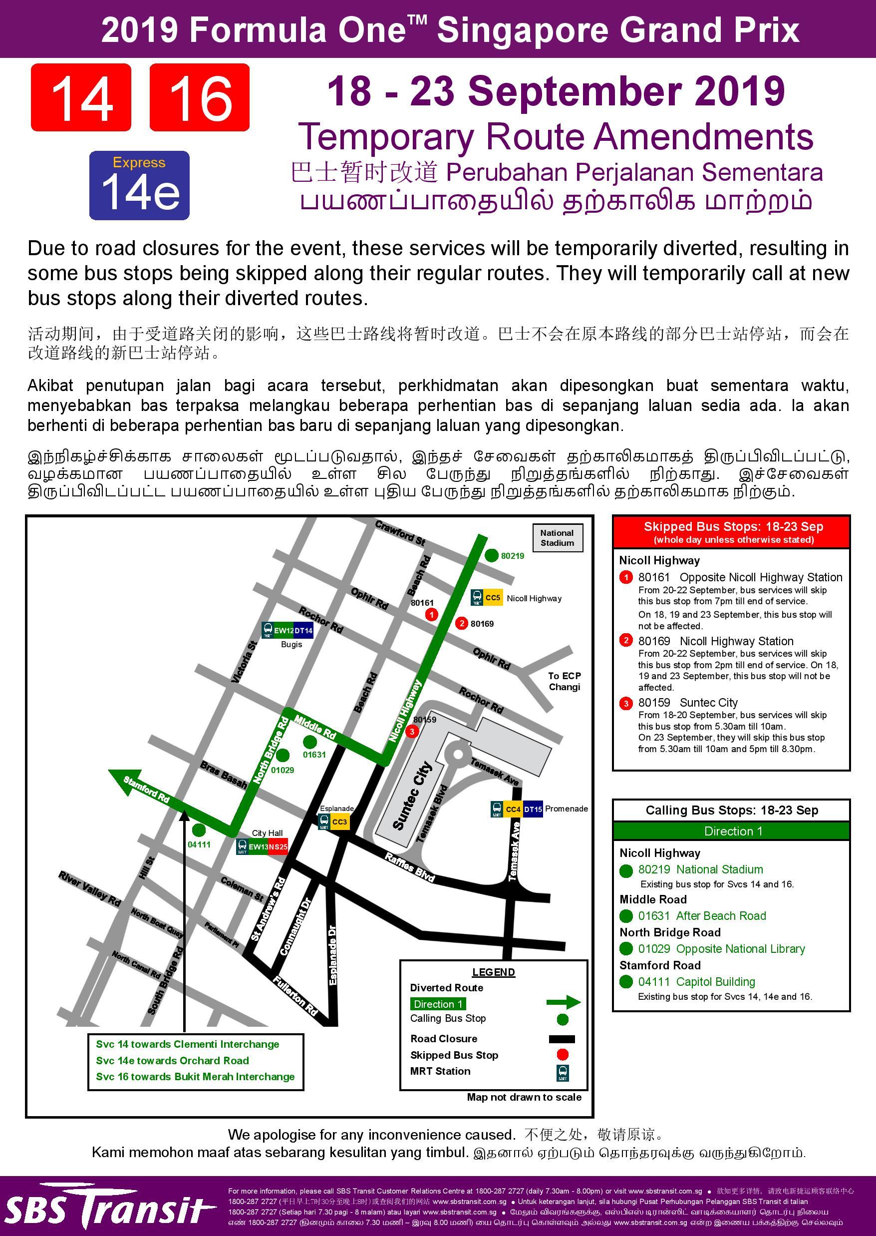 Formula 1 2019 Singapore Grand Prix Bus Diversions And