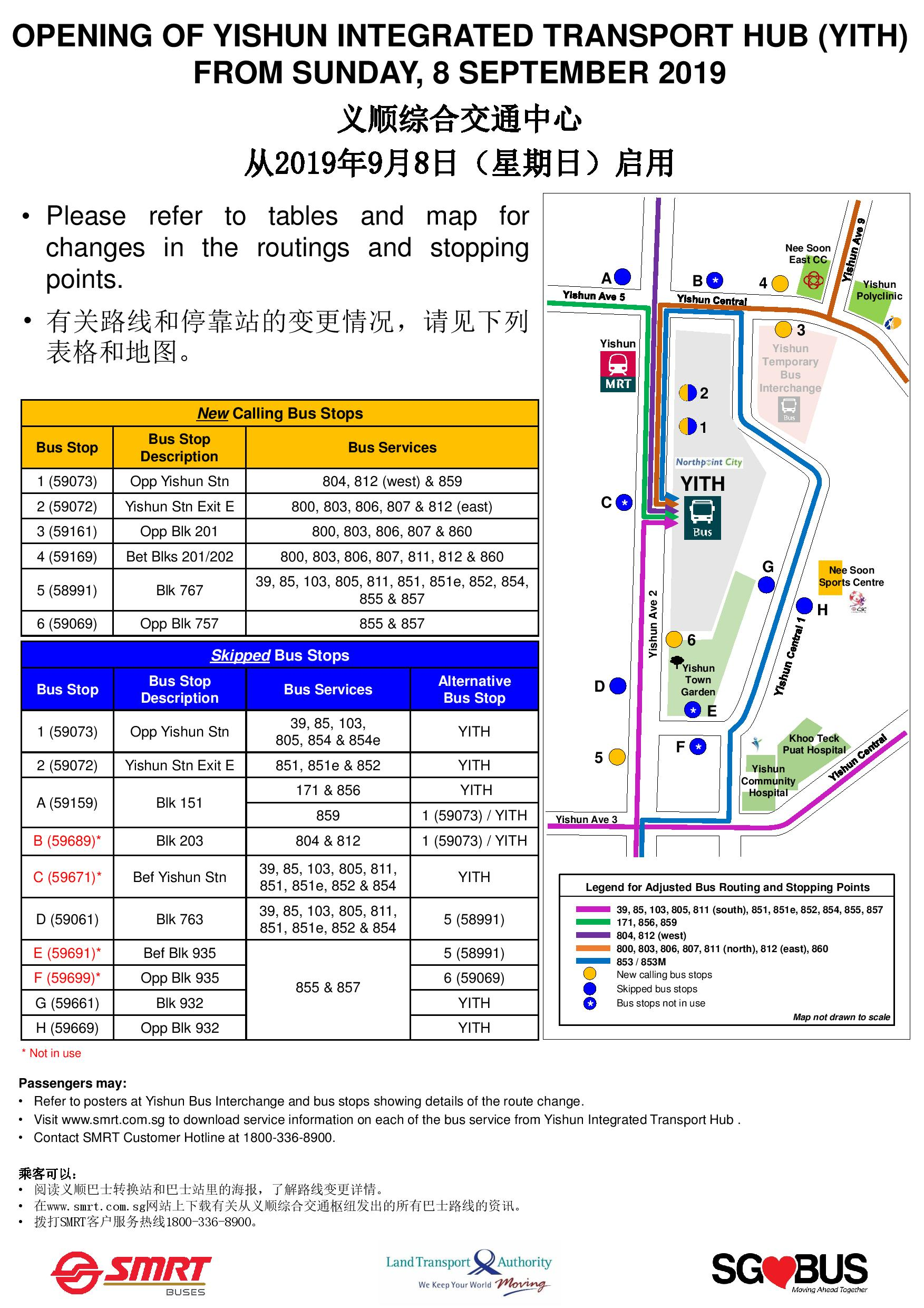 [Updated] Yishun Integrated Transport Hub Opening - Summary of Bus Service Changes