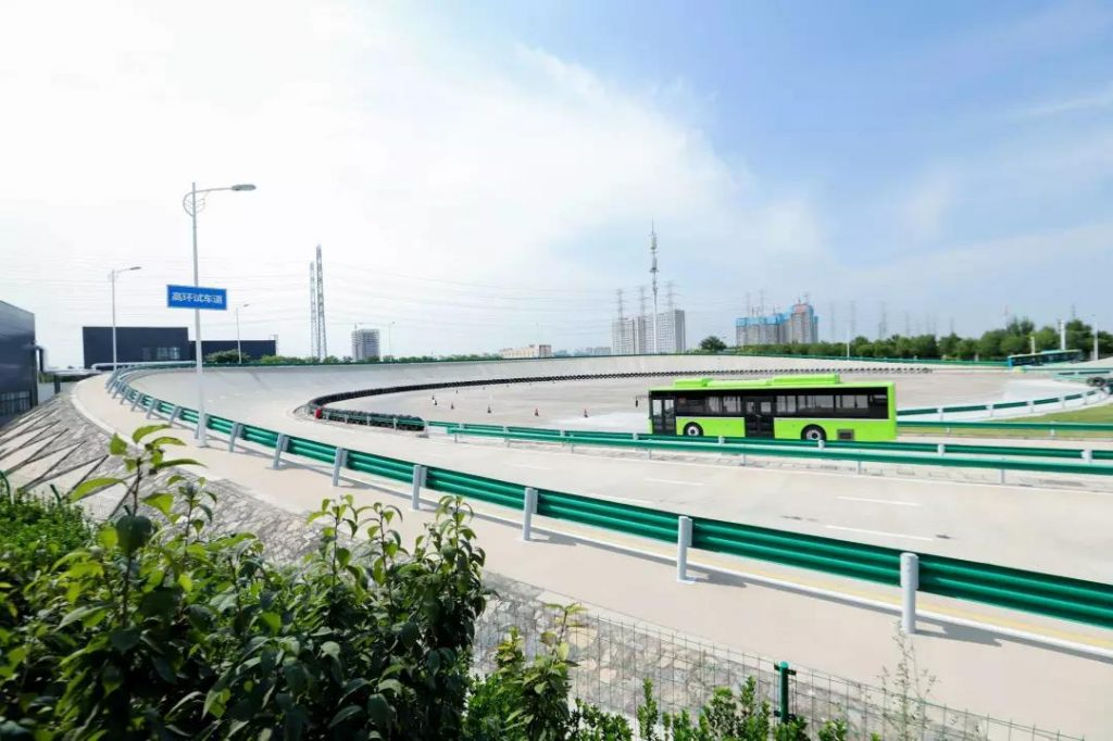 Yutong E12 navigating a test track in Zhengzhou, China