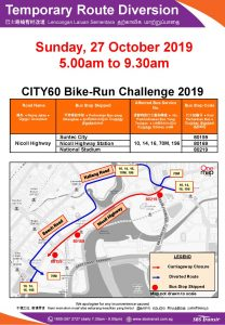 SBS Transit Temporary Route Diversion Poster for CITY60 Bike-Run Challenge 2019